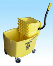 WHITE Bucket w/ Side Press Wringer Yellow 35 QT